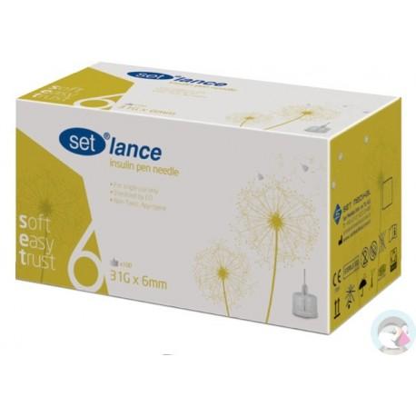 Igły do penów insulinowych SET Lance 31G 0,25 x 6mm 100 sztuk
